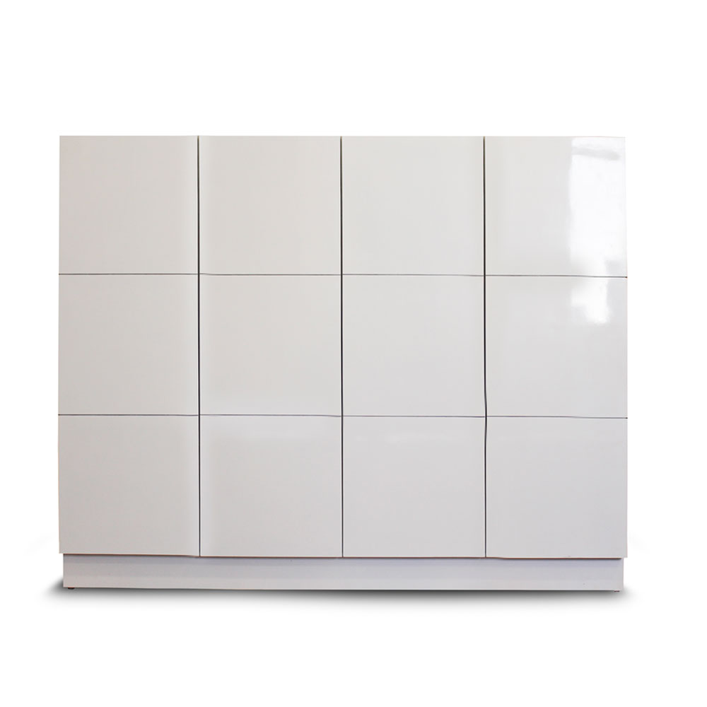 Grid Shoe Cabinet - White Large