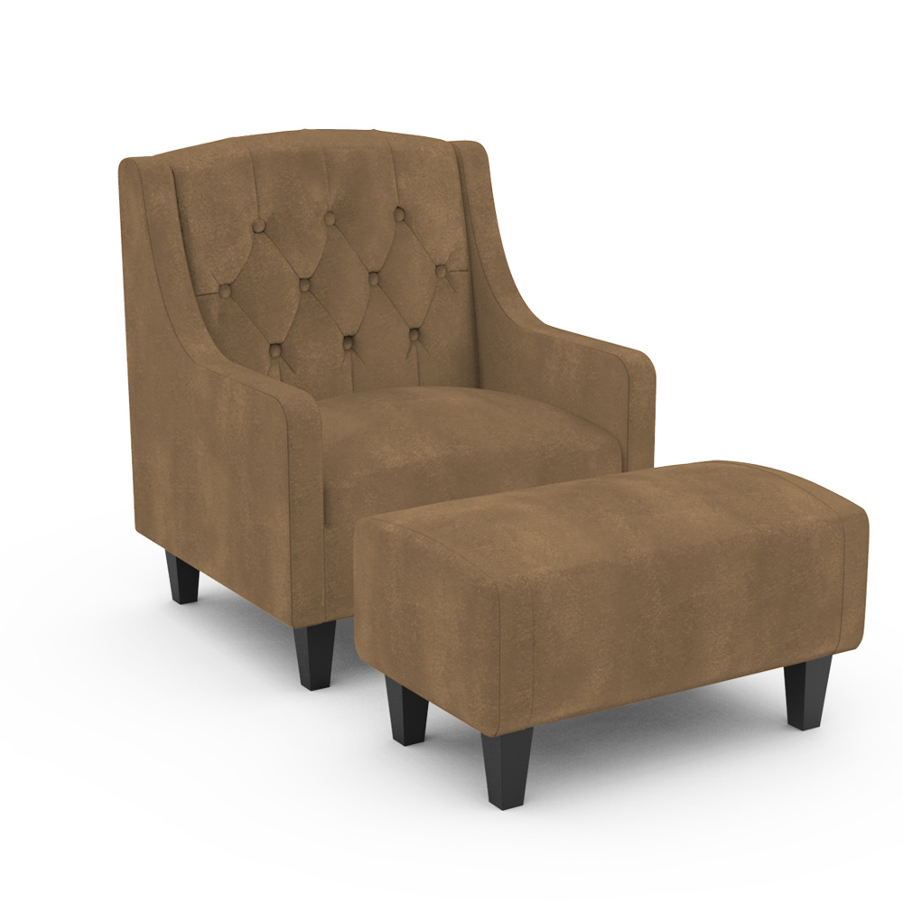 Elbrus ArmChair with Ottoman - Brown