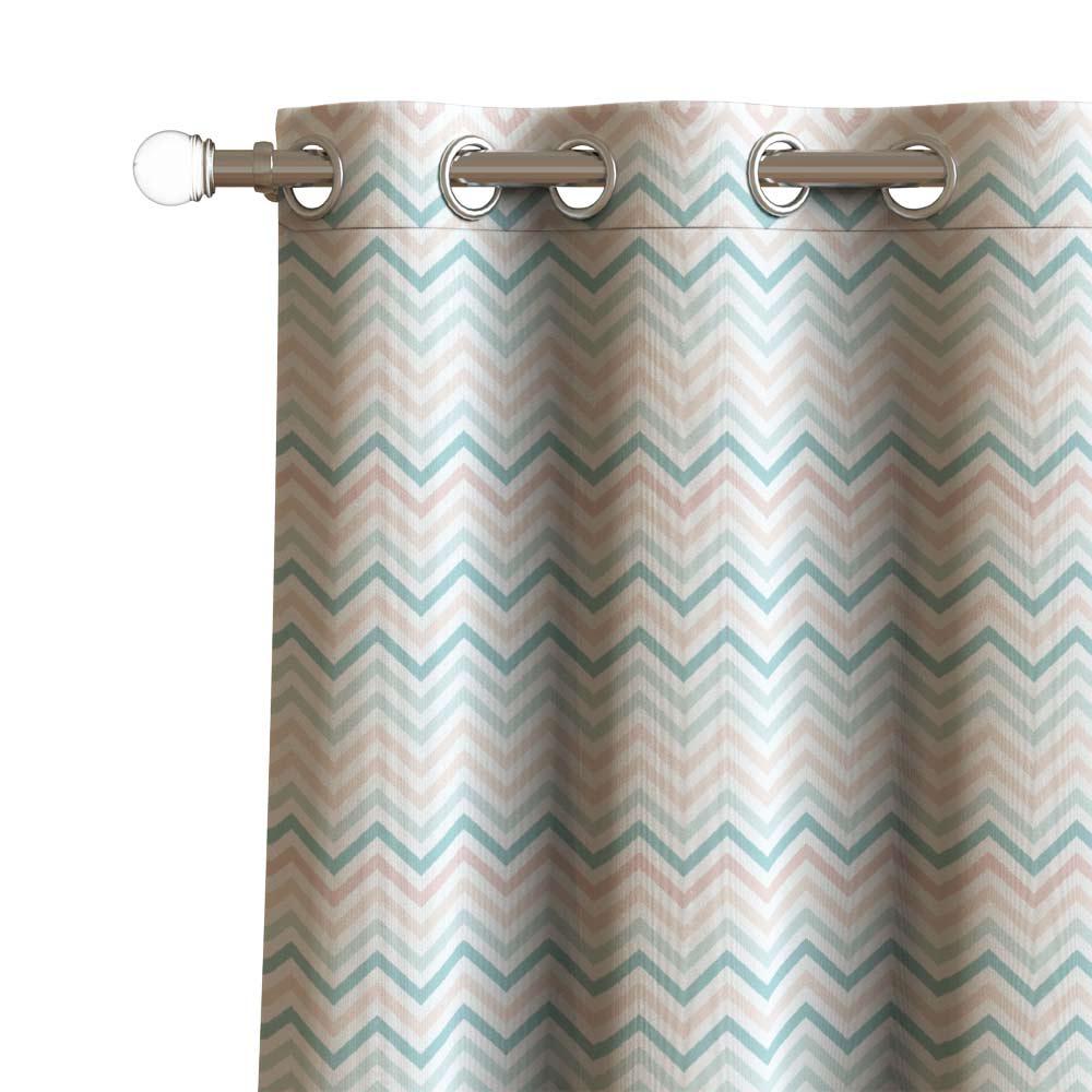 ZIG ZAG WAVES Printed curtain Set of 2