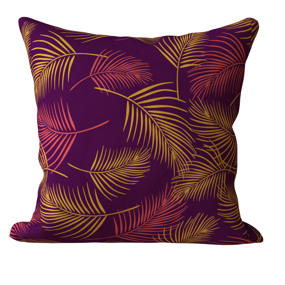 Contemporary Palm Leaves 16 x 16 inch Kochi Purple Cushion Cover-Set of 5