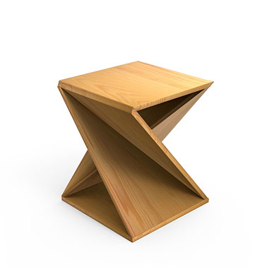 Twisted Geometry End Table- Natural