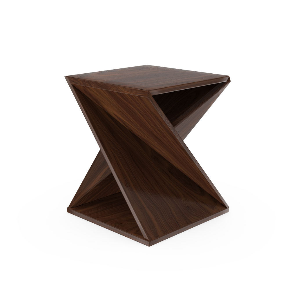 Twisted Geometry End Table - Wenge