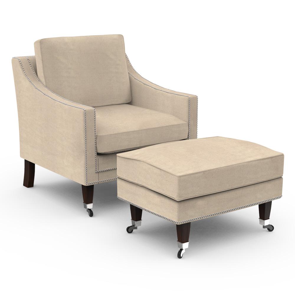 Sandy Fawn Arm Chair with Ottoman