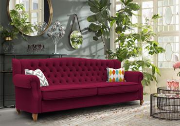 Classic scroll arm sofa boysenberry